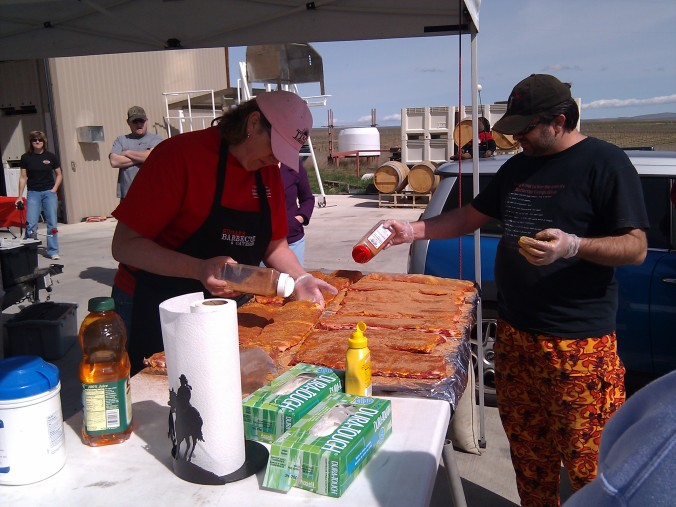 Crazy hammer pants are required for pro BBQ cooks
