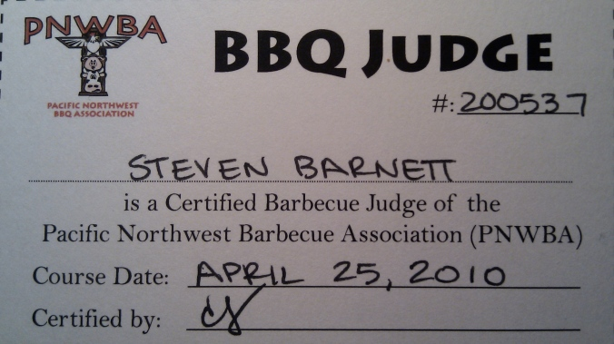 I'm a card-carrying BBQ judge!